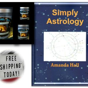 Simply Astrology Book - By Amanda Hall + 3 Water Sign Astrology Soy Candles medium